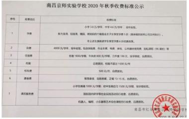 2020南昌京师实验学校招生简章