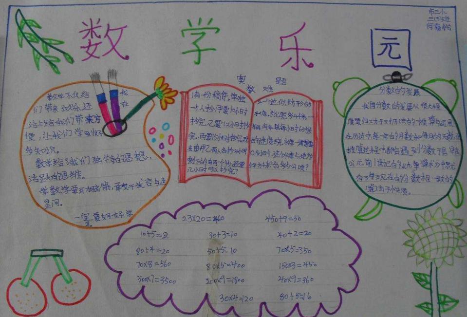 三年級數學樂園手抄報簡單又好看