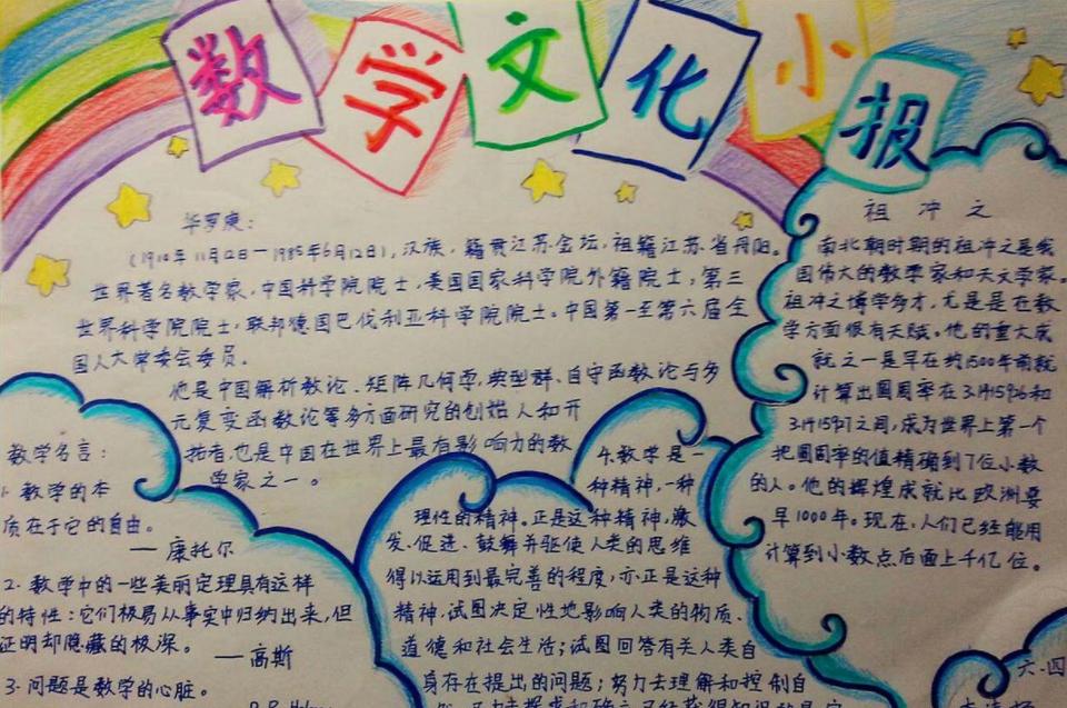 数学文化手抄报六年级图片简单漂亮