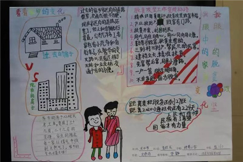 2020小学生脱贫攻坚海报绘画手抄报大全