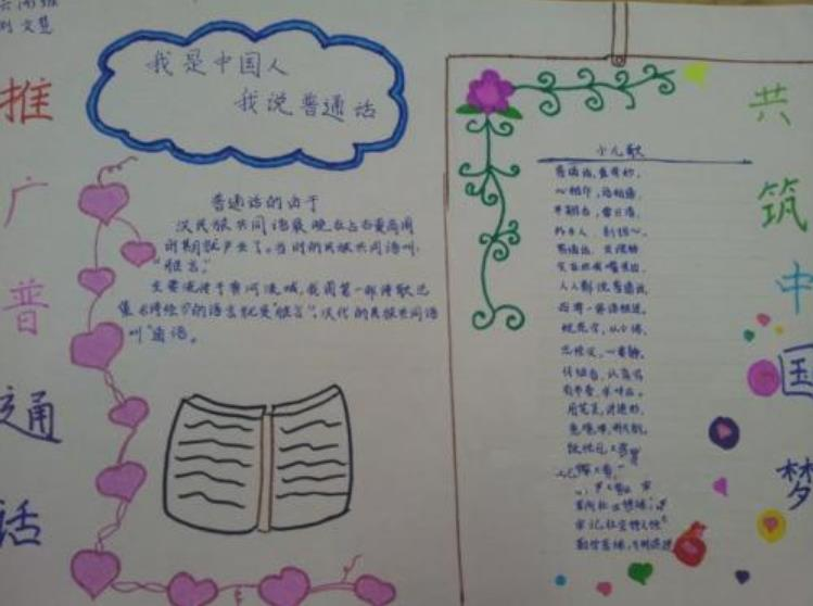 推广普通话我是中国人我说中国话手抄报简单