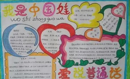 我是中國娃愛說普通話手抄報漂亮又簡單