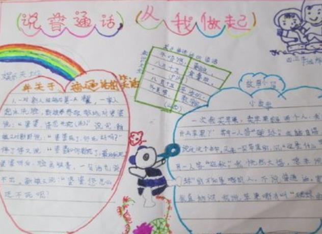 说普通话从我做起手抄报简单好画