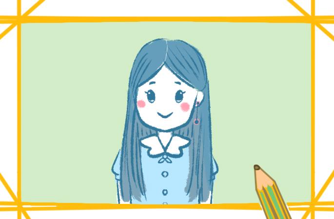 漂亮的女生簡筆畫帶顏色怎么畫