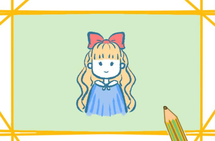 外國女孩子簡筆畫圖片帶顏色