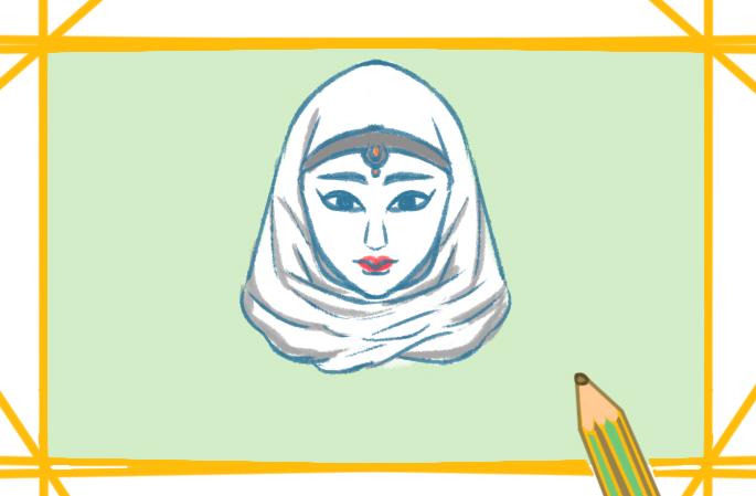 美丽的阿拉伯女性上色简笔画要怎么画