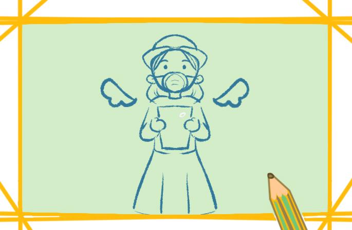 甜美的護士上色簡筆畫要怎么畫