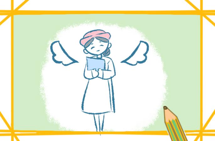 溫柔的白衣護士上色簡筆畫要怎么畫