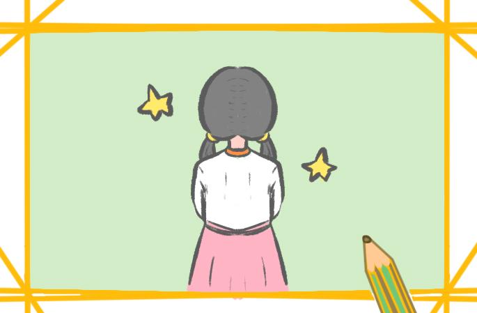 漂亮的背影上色簡筆畫要怎么畫