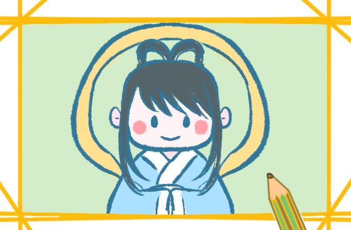 古代仙子简笔画带颜色