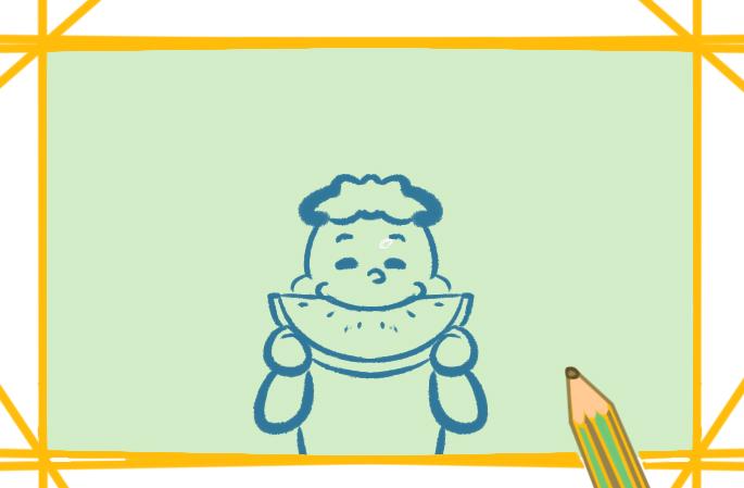 吃瓜群众上色简笔画要怎么画