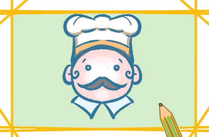 可爱的胖厨师上色简笔画要怎么画