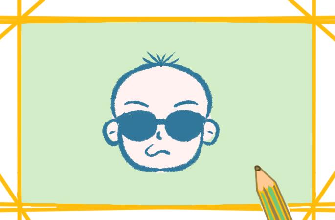 光头的小男孩上色简笔画要怎么画