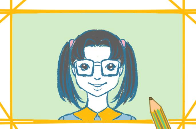 戴眼鏡的女學生上色簡筆畫要怎么畫