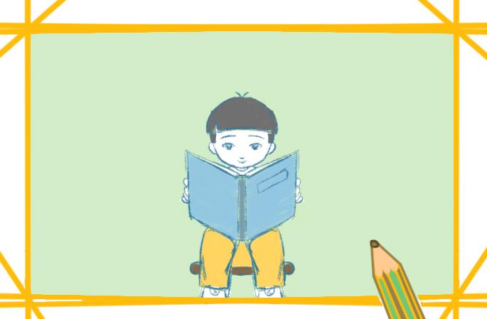 阅读学习的孩子上色简笔画要怎么画