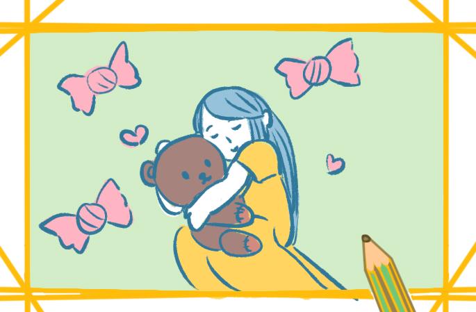 抱著玩具熊的女生上色簡筆畫要怎么畫