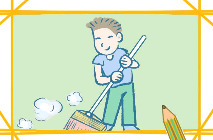 认真扫地的男孩上色简笔画要怎么画