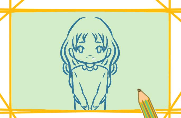 漂亮的金發女孩上色簡筆畫要怎么畫