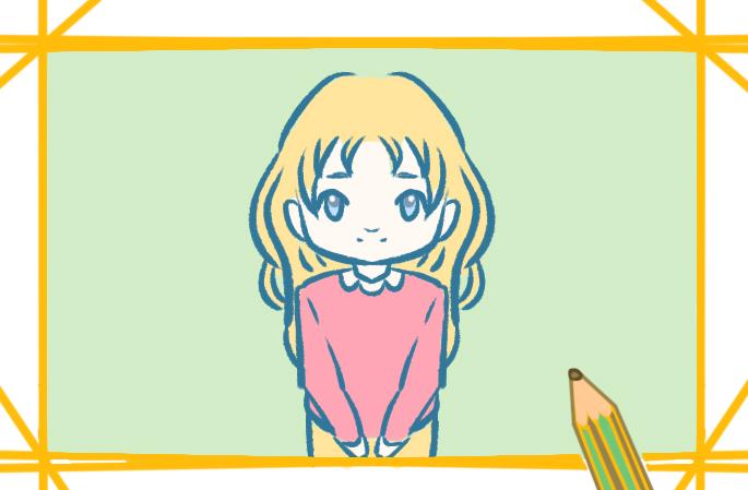 外國女孩子上色簡筆畫圖片教程