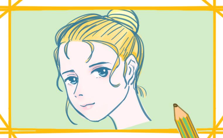 金發女孩簡筆畫帶顏色怎么畫