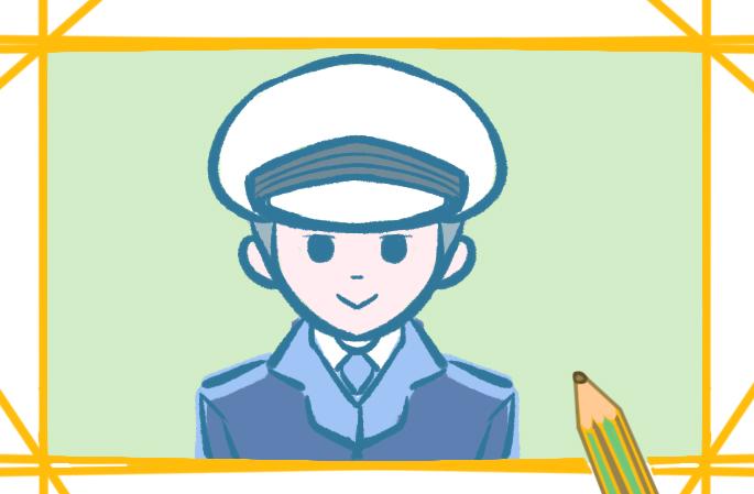 可愛的人民警察簡筆畫圖片教程
