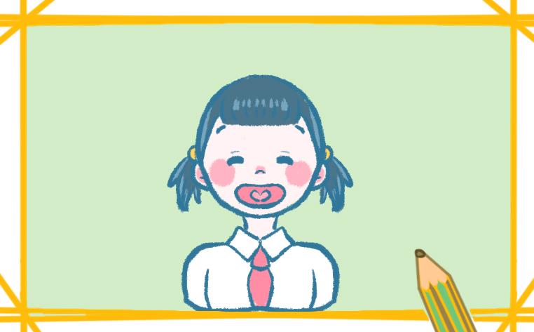 帶紅領巾的小女孩簡筆畫圖片簡單好看