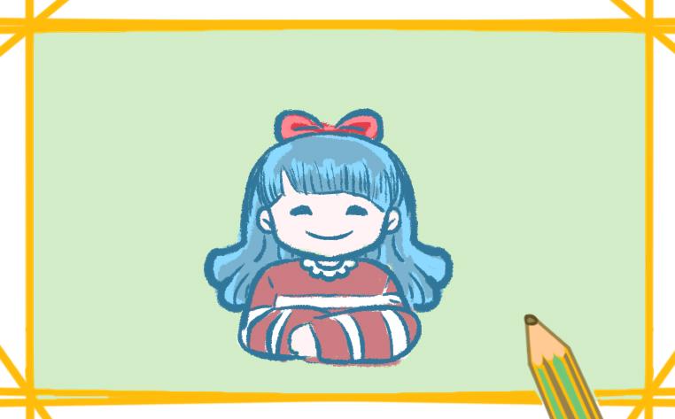 穿毛衣的女孩子簡筆畫帶顏色圖片