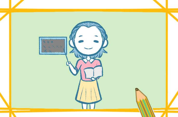 漂亮的老師上色簡筆畫小學生要怎么畫