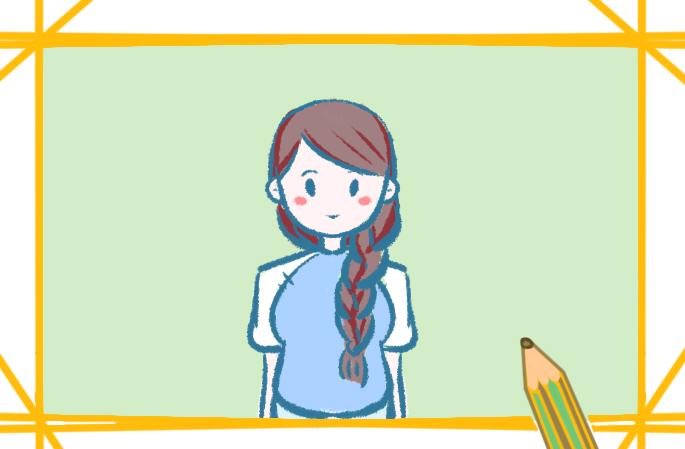 民国女孩简笔画带颜色教程步骤图片
