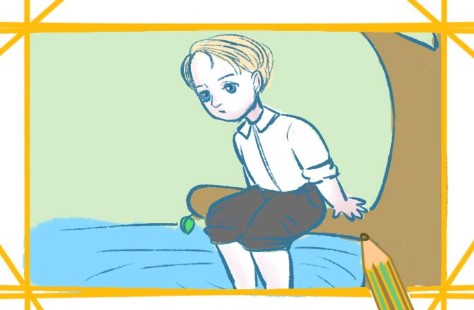 度假的小男孩上色简笔画要怎么画