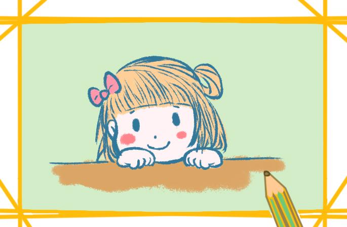 童真的女孩簡筆畫帶顏色怎么畫