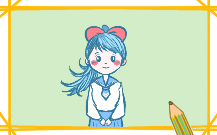 单纯的女学生简笔画带颜色怎么画