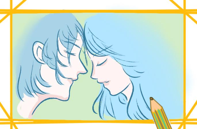 唯美情侶上色簡筆畫圖片教程