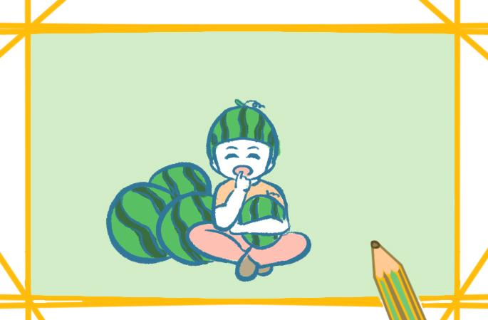 开心的西瓜男孩上色简笔画要怎么画