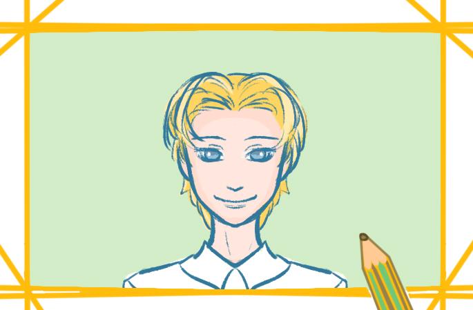金发男生上色简笔画图片教程