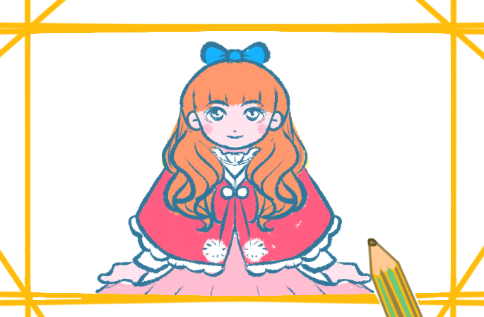 洋娃娃簡筆畫帶顏色教程圖