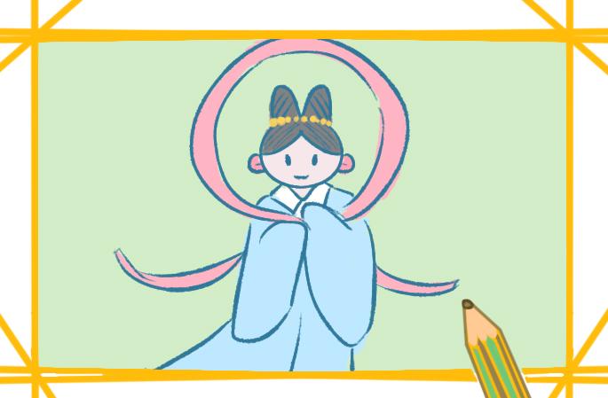 古代仙子上色簡筆畫圖片教程步驟