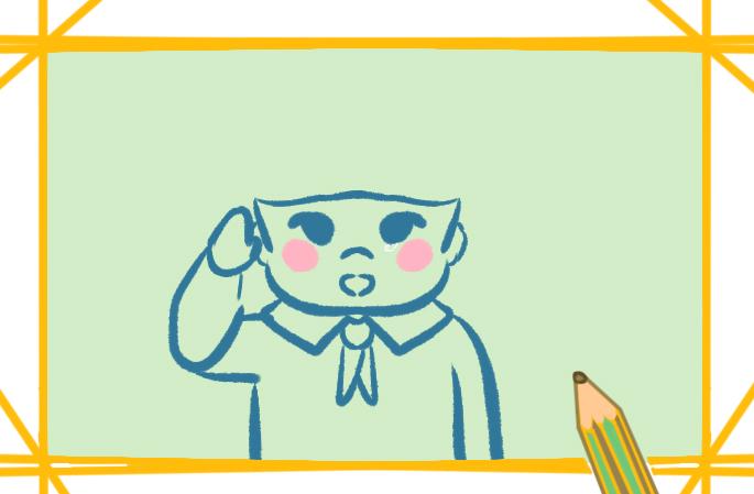 爱国的少年上色简笔画要怎么画
