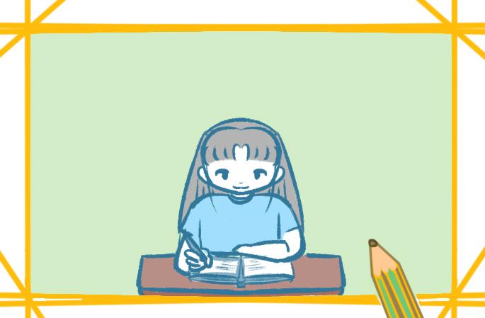 認真學習的女孩上色簡筆畫圖片教程步驟