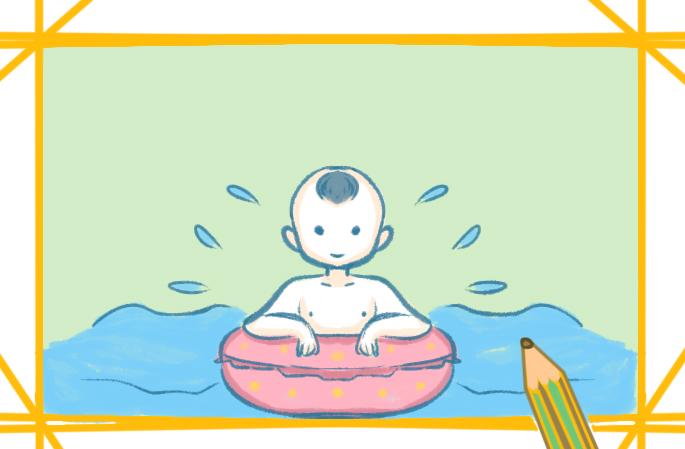 夏天游泳上色简笔画要怎么画