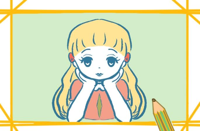 發呆的女生簡筆畫圖片怎么畫