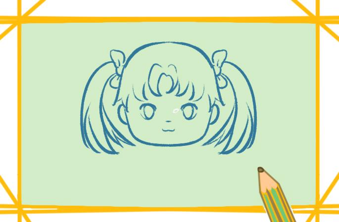 扎双马尾的女生上色简笔画图片教程