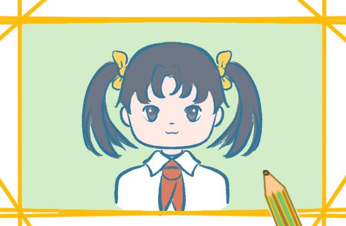 扎雙馬尾的女生上色簡筆畫圖片教程