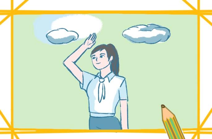 敬禮的女生簡筆畫圖片怎么畫