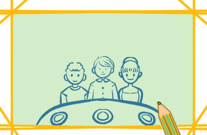团圆的一家人上色简笔画要怎么画
