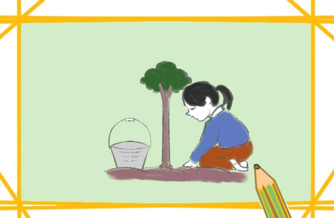 植树的女孩子上色简笔画要怎么画