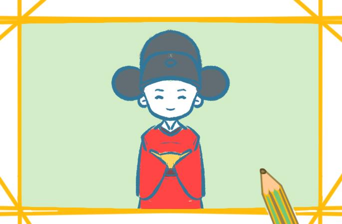 可爱的小状元上色简笔画图片教程