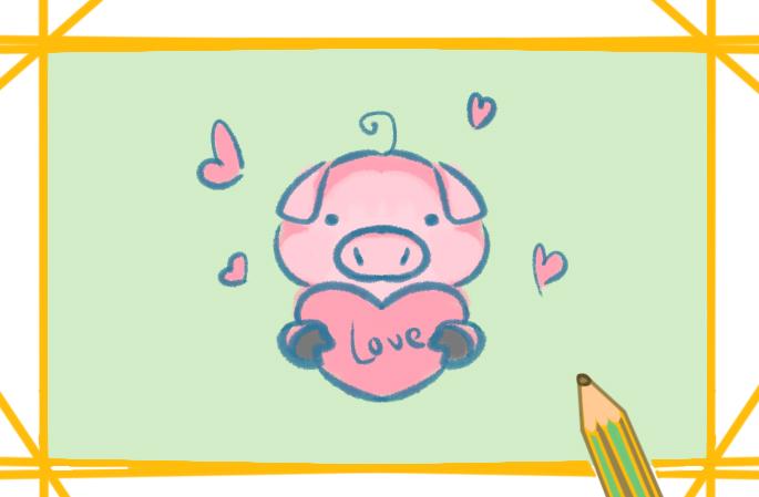 可愛的寵物豬上色簡筆畫要怎么畫