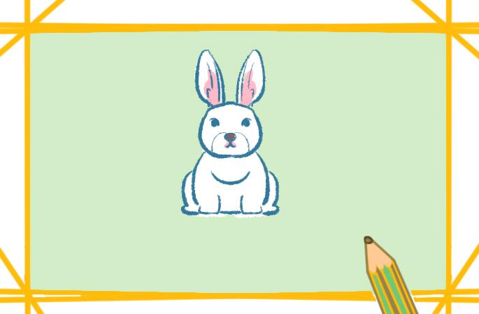 简单好看的白兔上色简笔画要怎么画