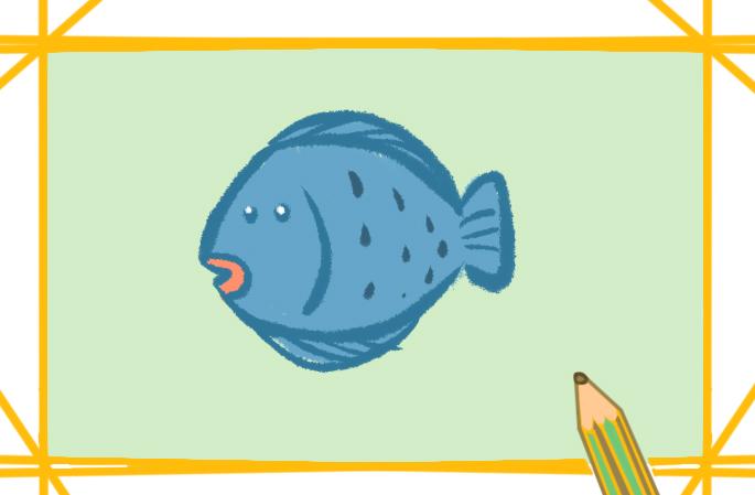 比目鱼简笔画带颜色的图片怎么画